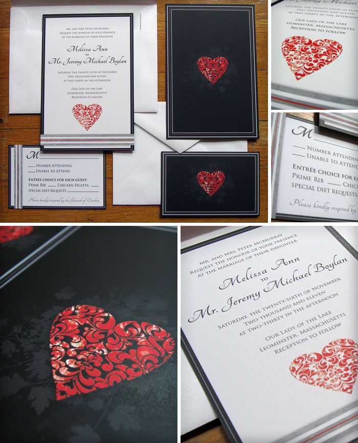 Wedding invitation design and return cards